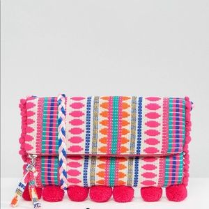 Foldover weave crossbody colorful bag